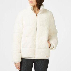 Sweaty Betty Winter White Zip Up Bomber Jacket